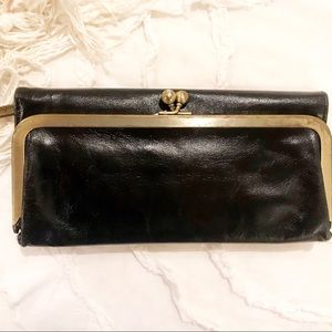 Black leather Hobo wallet